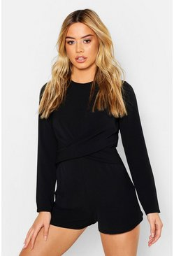 Womens Black Petite Twist Front Woven Playsuit