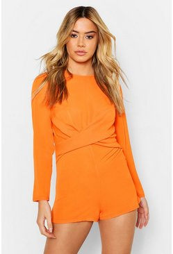 Orange Petite Twist Front Woven Playsuit