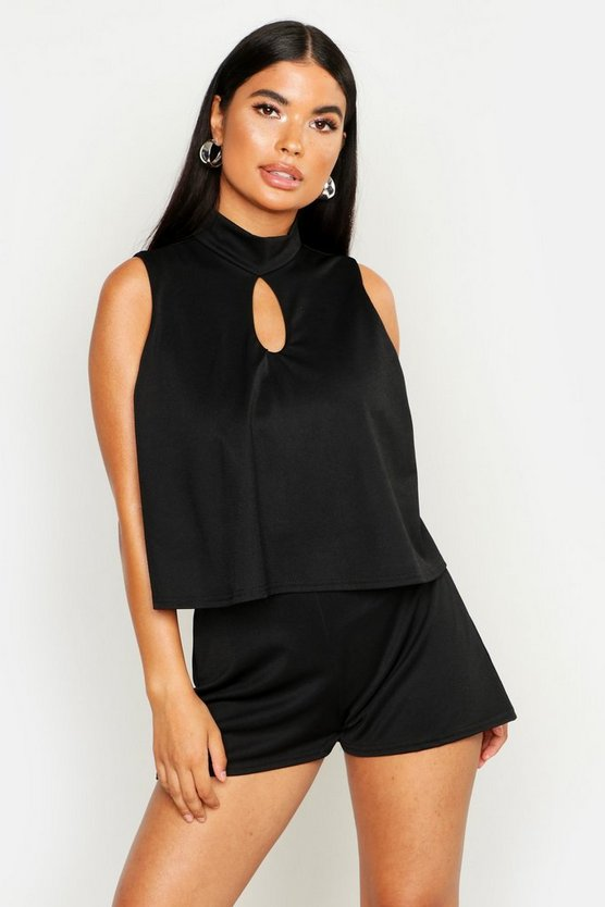 Womens Black Petite High Neck Double Layer Playsuit