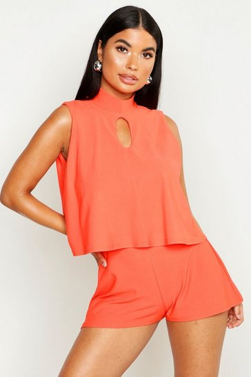 Womens Orange Petite High Neck Double Layer Playsuit