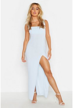 Womens Sky Petite Square Neck Split Maxi Dress