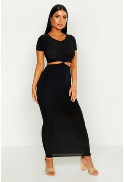 Womens Black Petite Knot Detail Slinky Maxi Dress