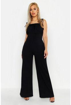 Womens Black Plus Ruched Bust Tie Shoulder Culotte Jumpsuit