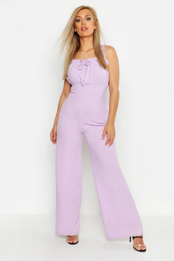 Womens Lilac Plus Ruched Bust Tie Shoulder Culotte Jumpsuit