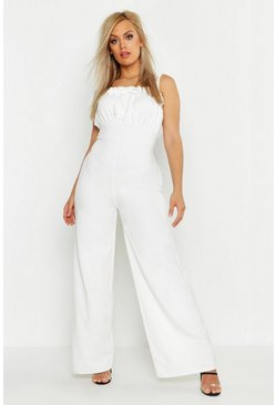 Womens White Plus Ruched Bust Tie Shoulder Culotte Jumpsuit