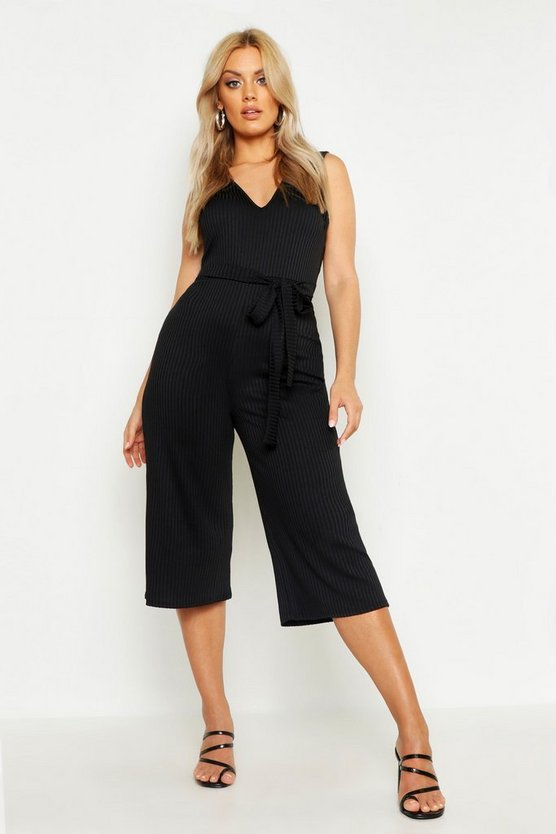 Womens Black Plus Jumbo Rib Culotte Jumpsuit