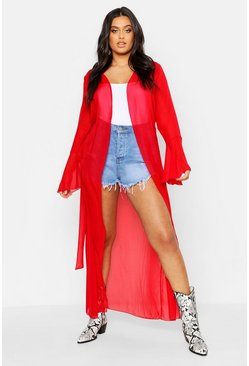 Red Plus Flute Sleeve Belted Maxi Kimono