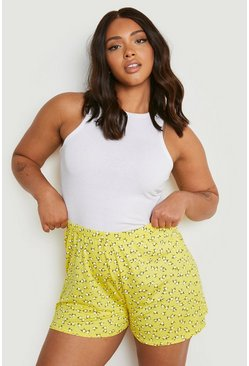 Womens Yellow Plus Ditsy Floral Flippy Shorts