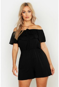 Womens Black Plus Bardot Tie Detail Playsuit