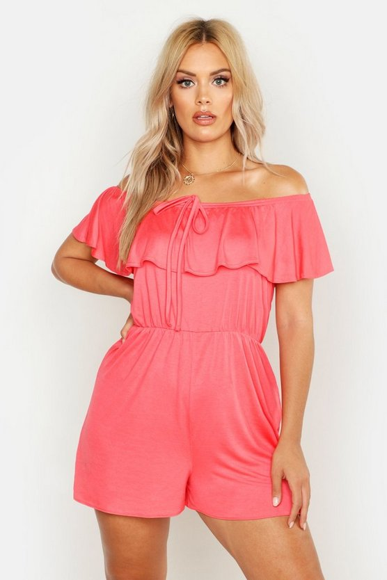 Womens Coral Plus Bardot Tie Detail Playsuit