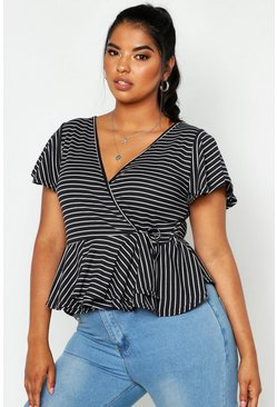 Womens Black Plus Stripe Rib Wrap Cap Sleeve Peplum Top