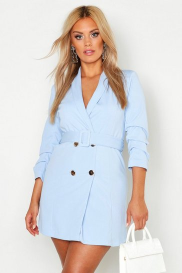 Womens Blue Plus Ruched Sleek Blazer Dress