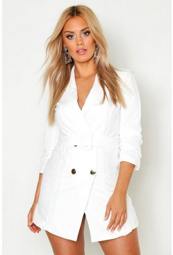 Womens White Plus Ruched Sleek Blazer Dress