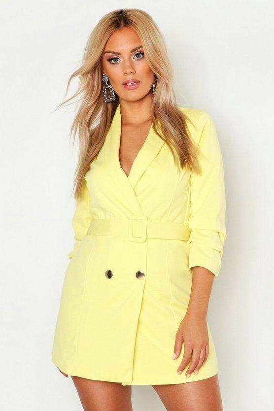 Plus Ruched Sleek Blazer Dress