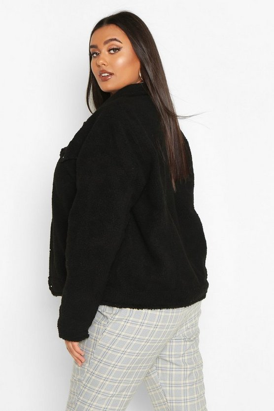 Plus Teddy Faux Fur Moto Jacket