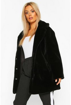 Womens Black Plus Faux Fur Coat