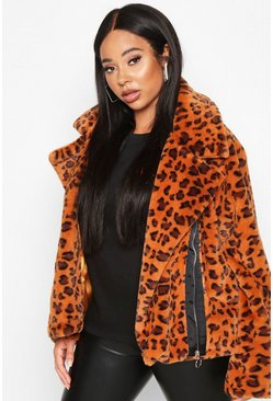 Womens Brown Plus Leopard Print Faux Fur Aviator Jacket