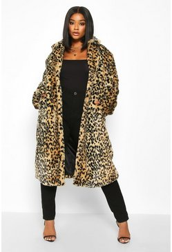 Womens Brown Plus Leopard Print Faux Fur Coat