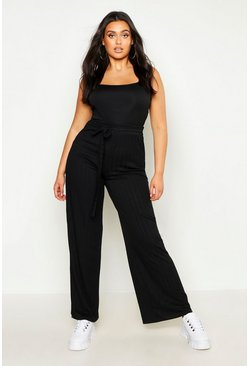 Womens Black Plus Plaited Rib Belted Wide Leg Trouser