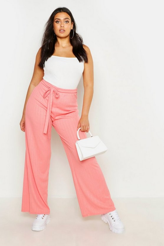 Womens Coral Plus Plaited Rib Belted Wide Leg Trouser