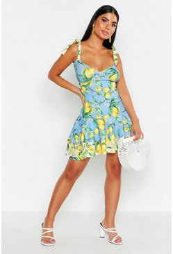 Womens Blue Petite Mix Lemon Tie Strap Ruffle Skater Dress