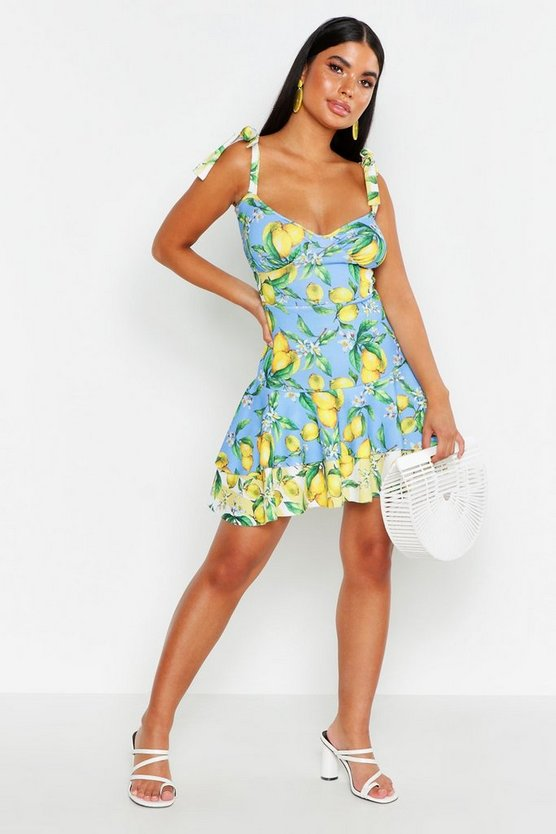 Petite Mix Lemon Tie Strap Ruffle Skater Dress by Boohoo