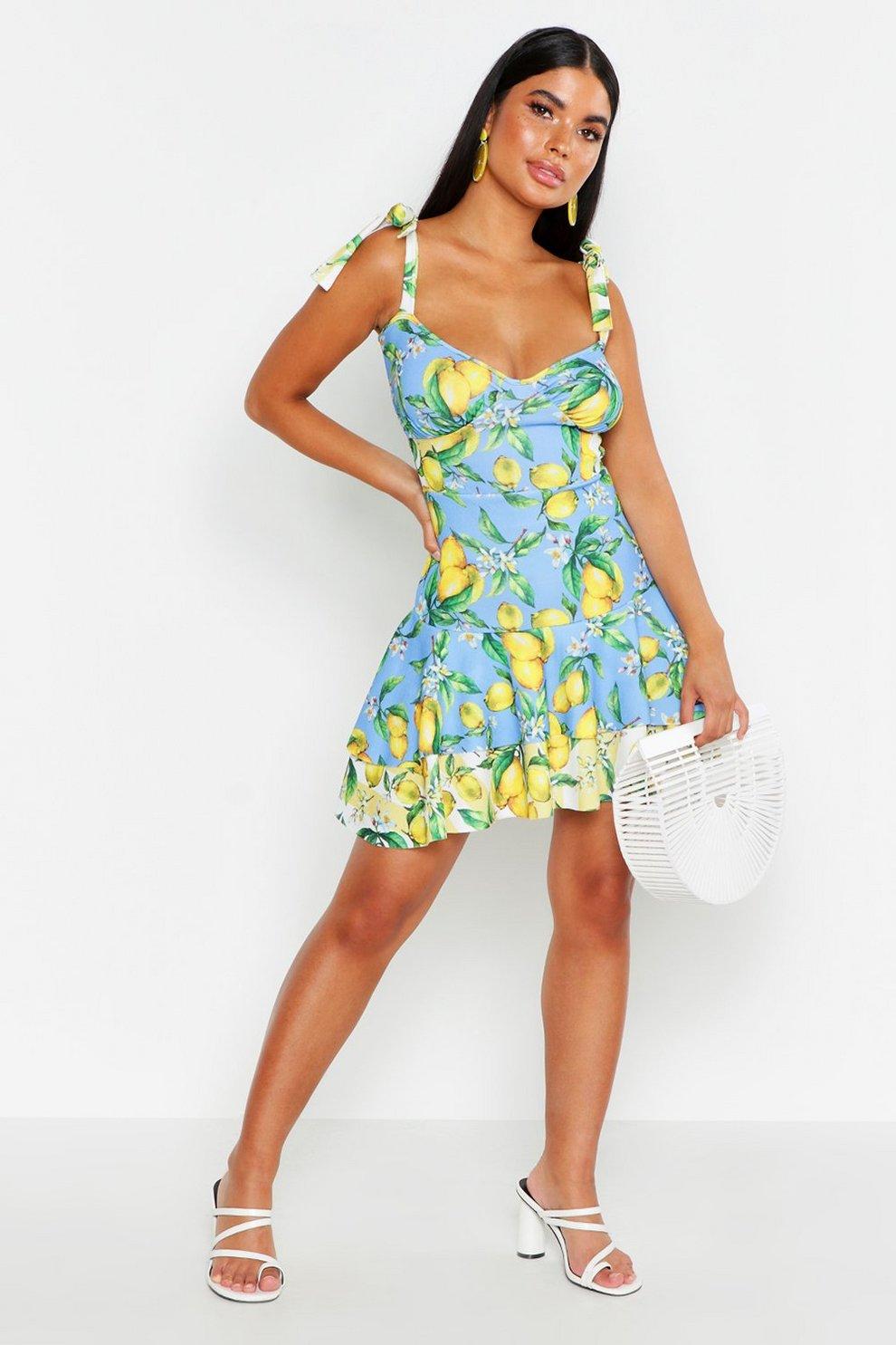 c89defdbbb4 Petite Mix Lemon Tie Strap Ruffle Skater Dress
