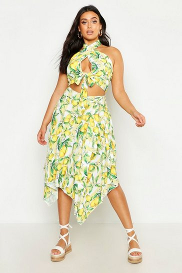 Womens Yellow Plus Lemon Stripe Hanky Hem Midi Skirt