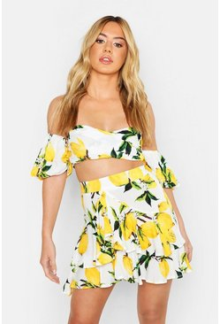 Womens White Petite Lemon Print Volume Bardot Top