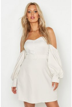 Ecru Plus Sweetheart Neck Button Balloon Sleeve Dress