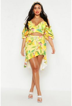 Womens Yellow Plus Fruit Print Ruffle Detail Midi Skirt