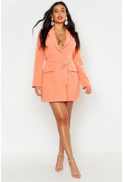Womens Coral Plus Woven Self Round Belted Blazer Dress