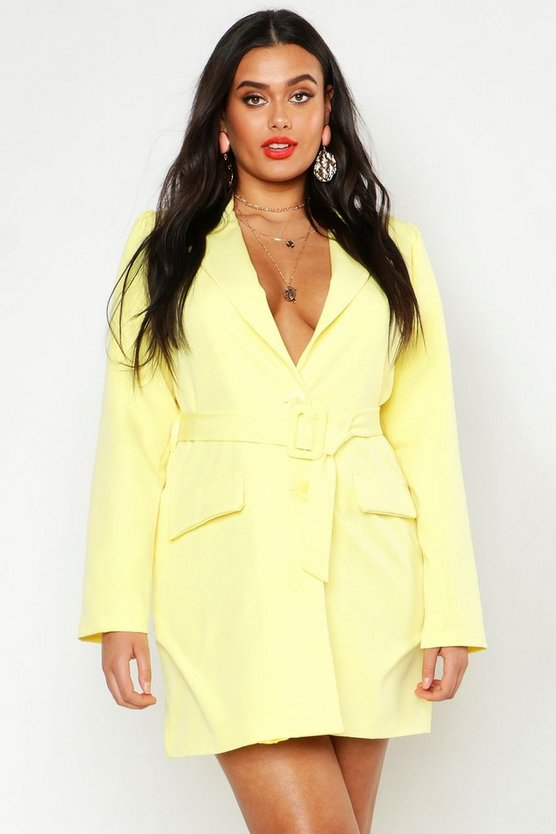 Womens Yellow Plus Woven Self Round Belted Blazer Dress