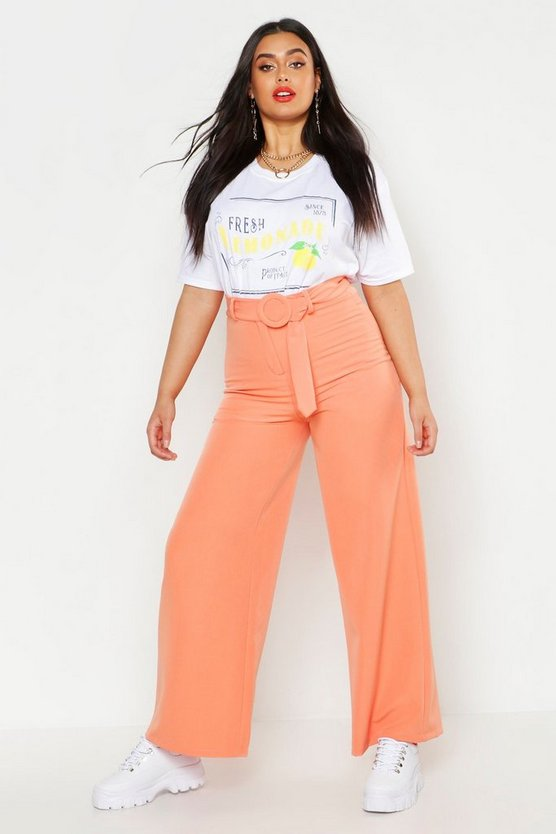 Womens Coral Plus Woven Round Self Buckle Wide Leg Trouser