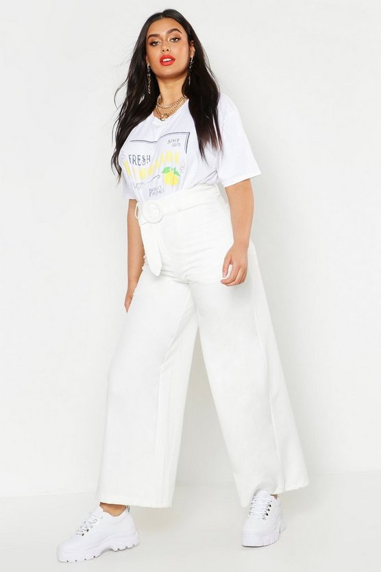 Womens White Plus Woven Round Self Buckle Wide Leg Trouser