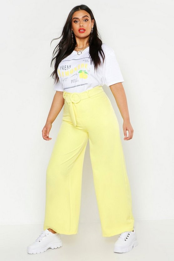 Womens Yellow Plus Woven Round Self Buckle Wide Leg Trouser
