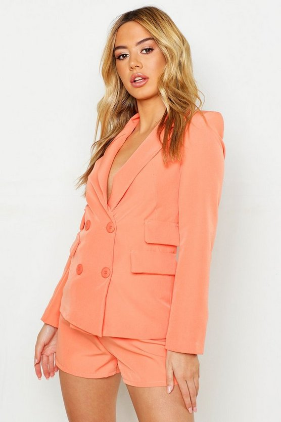 Womens Coral Petite Woven Double Pocket Blazer