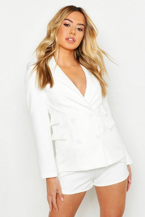 Womens White Petite Woven Double Pocket Blazer