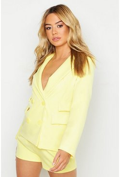 Womens Yellow Petite Woven Double Pocket Blazer