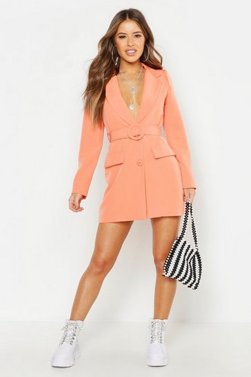 Womens Coral Petite Woven Self Belt Round Buckle Blazer Dress