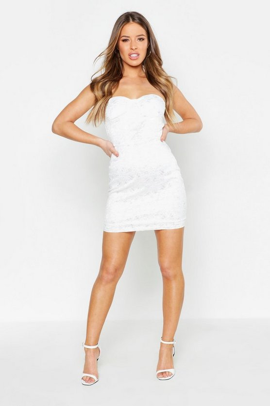 Womens White Petite Lace Strapless Bodycon Dress