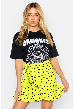 Womens Lime Petite Ruffle Neon Spot Mini Skirt