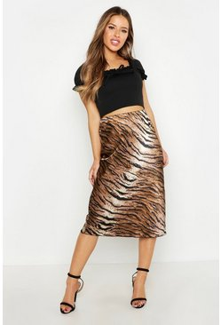 Womens Tan Petite Satin Tiger Print Bias Cut Midi Skirt