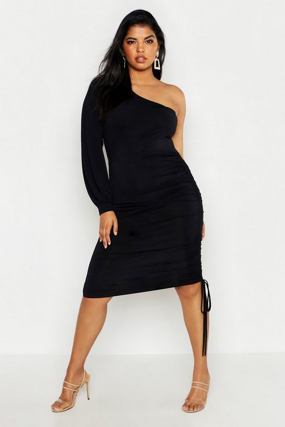 Womens Black Plus Double Slinky One Shoulder Rouched Midi Dress