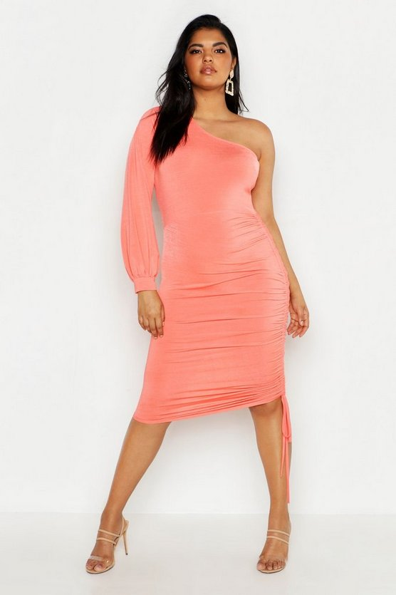 Womens Coral Plus Double Slinky One Shoulder Rouched Midi Dress
