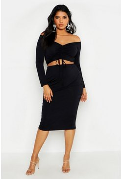 Womens Black Plus Double Slinky Midi Skirt