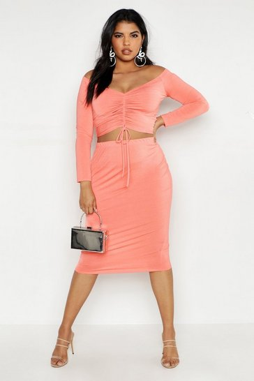Womens Coral Plus Double Slinky Midi Skirt
