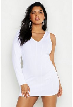 Womens White Plus Bandage Rib Cut Out Bodycon Dress