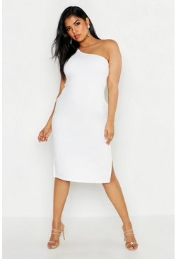 Womens Ivory Plus One Shoulder Split Detail Midi Dress
