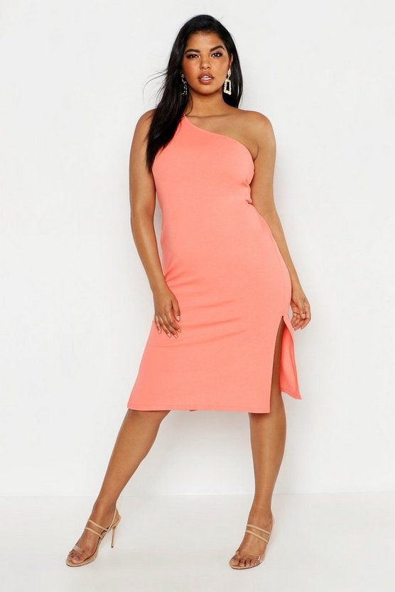 Womens Orange Plus One Shoulder Split Detail Midi Dress